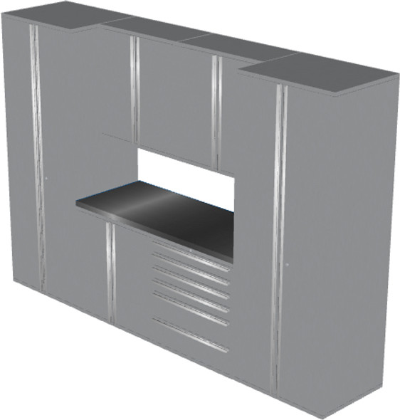 Saber 7-Piece Silver Garage Cabinet Set (7006)