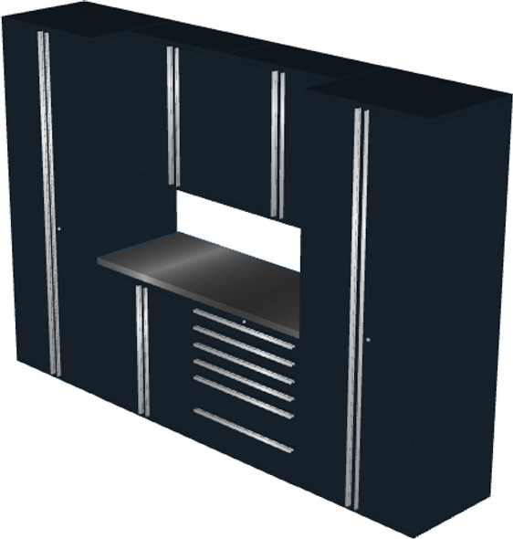 Saber 7-Piece Black Garage Cabinet Set (7006)