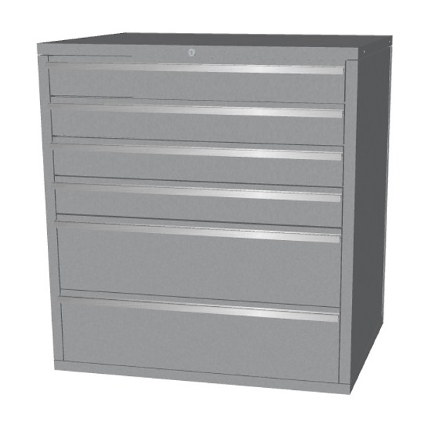 Saber silver 6 drawer base cabinet