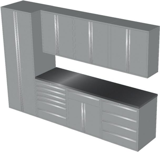 Saber 8-Piece Silver Garage Cabinet Set (8008)