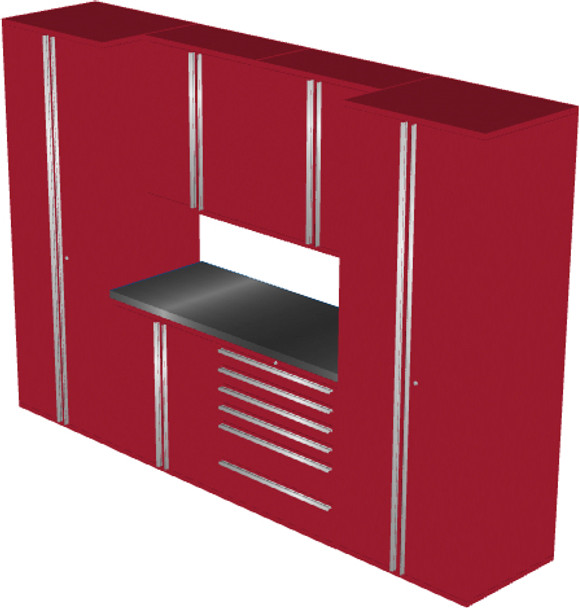 Saber 7-Piece Red Garage Cabinet Set (7006)