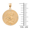 Solid Yellow Gold  Saint George Engravable Diamond Medallion Pendant Necklace  (Small)