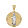 Solid Two Tone Yellow Gold Diamond Saint Peter Engravable Circle Medallion Pendant Necklace (Large)