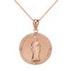 Solid Rose Gold Diamond Saint Peter Engravable Circle Medallion Pendant Necklace (Small)