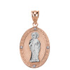 Solid Two Tone Rose Gold Diamond Saint Peter Engravable Oval Medallion Pendant Necklace (Large)