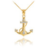 Two Tone Solid Yellow Gold Anchor Diamond Pendant Necklace