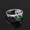 Silver Claddagh Ladies Ring with Emerald