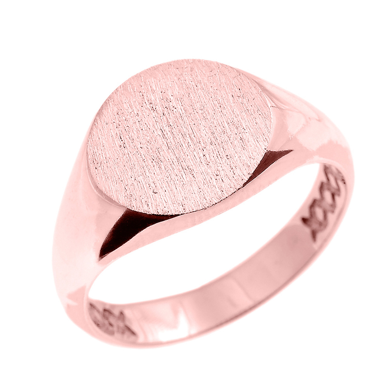 Solid Mens Solid 14k Yellow Gold Engravable Polished Round Top Signet Ring