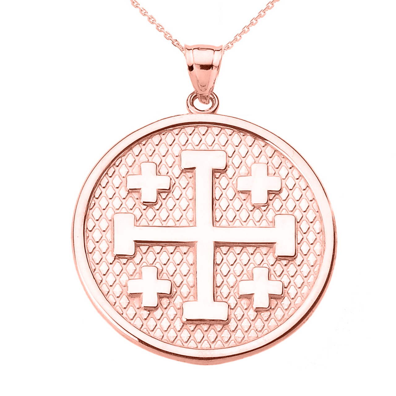 Freemason Masonic Jewelry Polished 14k Rose Gold Crusaders Jerusalem Cross Pendant Necklace