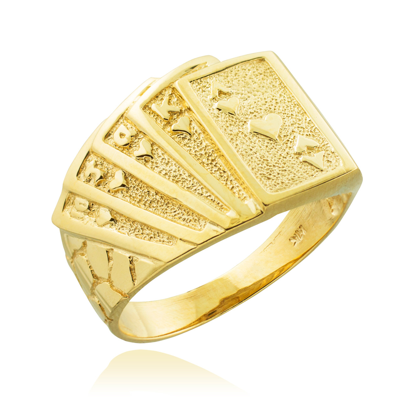 14k Yellow Gold Solid Satin Polished Royal Flush Pendant