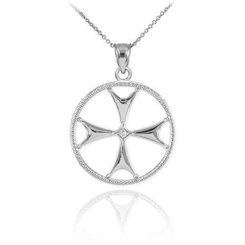 Sterling Silver CZ Maltese Cross Pendant Necklace