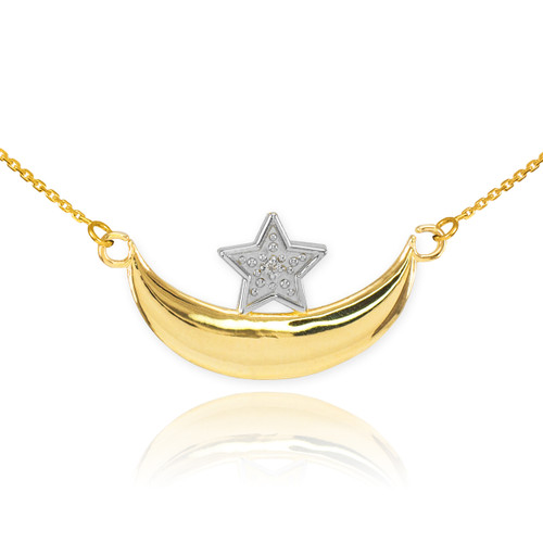 14k Gold Diamond Crescent Moon and Star Islamic Necklace