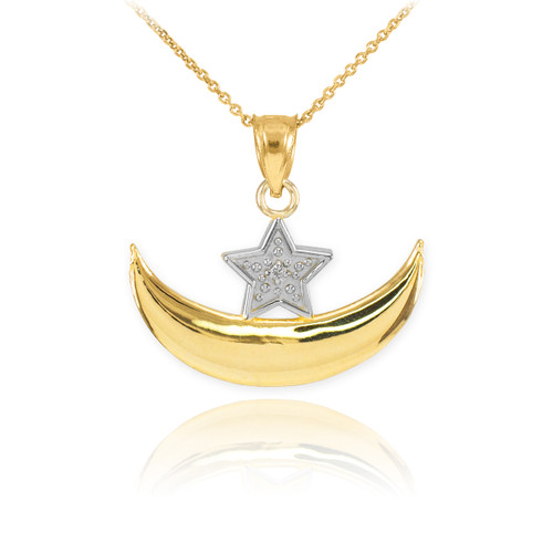 Gold Diamond Crescent Moon and Star Islamic Pendant Necklace