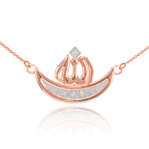 14k Rose Gold Diamond Crescent Moon Allah Necklace