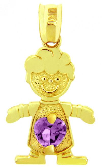 Gold February Amethyst CZ Birthstone Charm