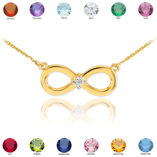 14K Gold Infinity CZ Birthstone Necklace