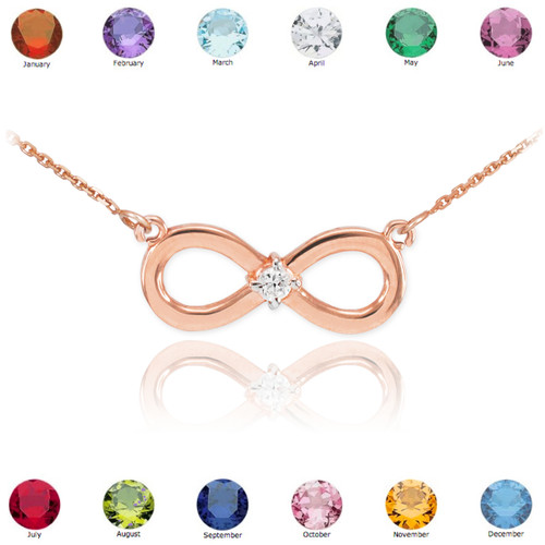 14k Rose Gold Infinity CZ Birthstone Necklace
