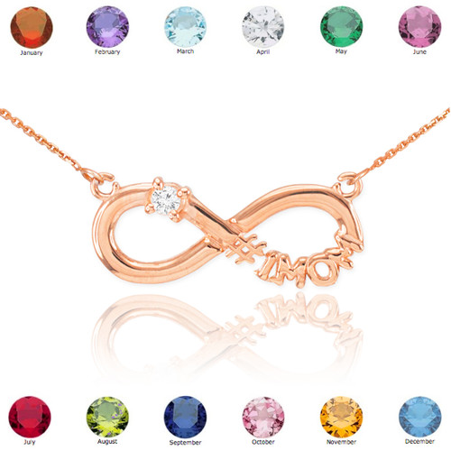 14k Rose Gold Infinity #1MOM CZ Birthstone Necklace