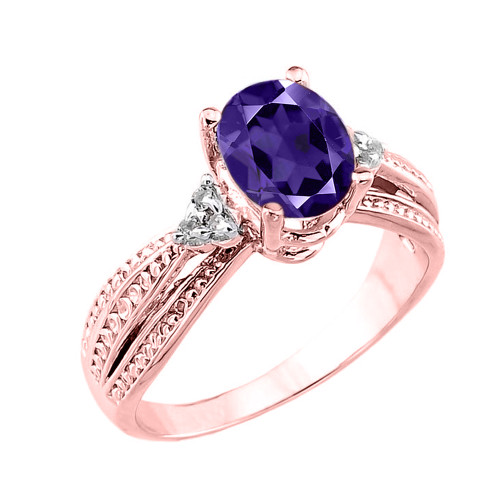 Rose Gold Genuine Amethyst and Diamond Proposal Ring