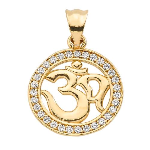 Yellow Gold Diamonds Studded Om/Ohm Pendant