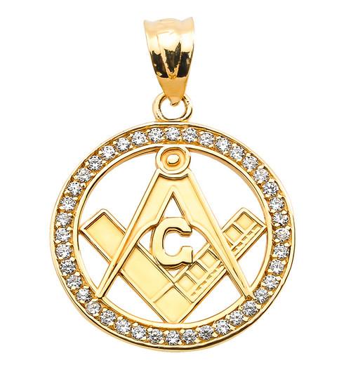 Yellow Gold CZ Studded Freemason Masonic Pendant