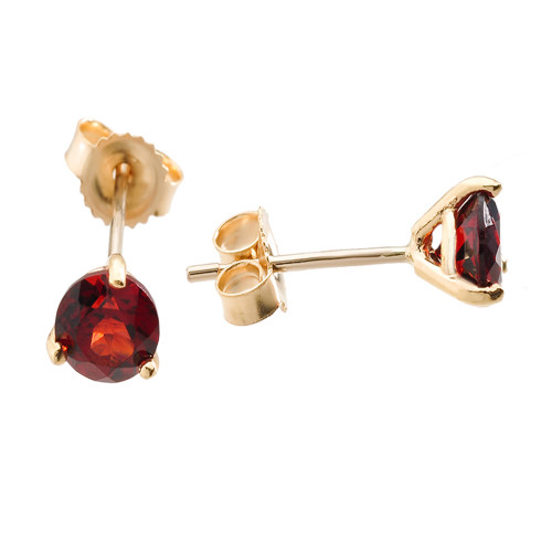 Yellow Gold Garnet Martini Stud Earrings