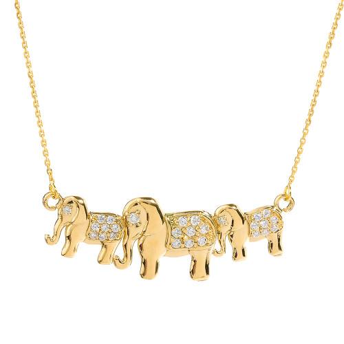 Yellow Gold CZ Studded Three Elephant Pendant Necklace