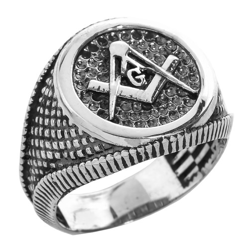 Sterling Silver Textured Round Masonic Men's Ring