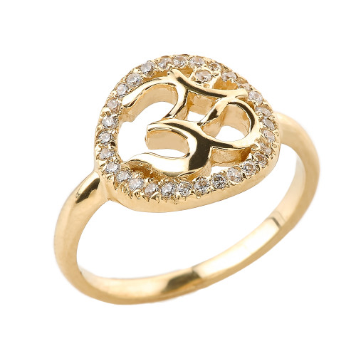 Yellow Gold CZ Studded Om/Ohm Ring