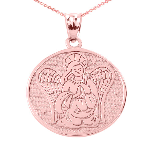 Two Sided Rose Gold Guardian Angel Charm Pendant Necklace