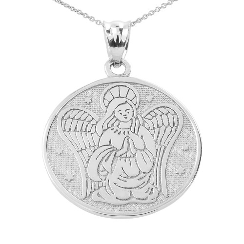 Two Sided Sterling Silver Guardian Angel Charm Pendant Necklace