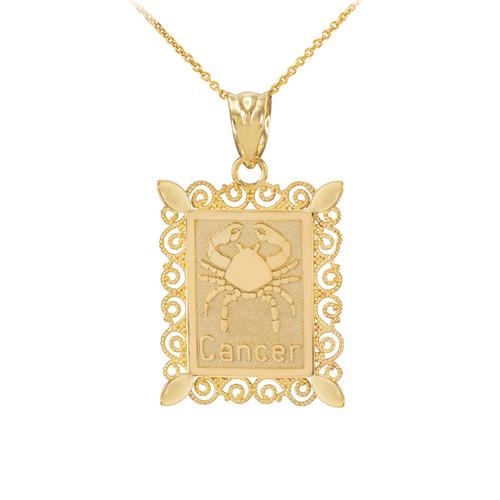 Gold Cancer Zodiac Sign Filigree Pendant Necklace