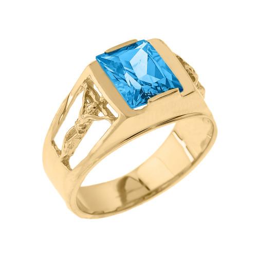 Yellow Gold Crucifix Cross Aquamarine Gemstone Men's Ring