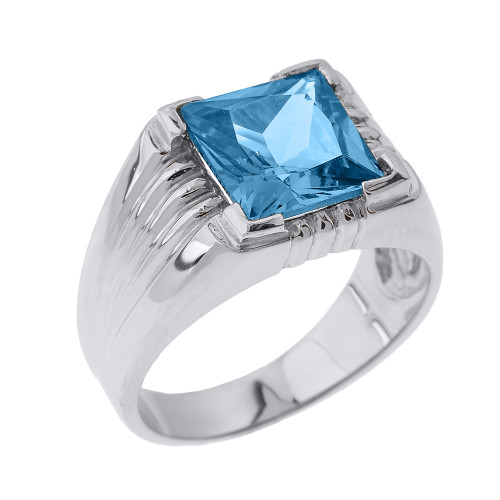 Sterling Silver Aquamarine Gemstone Men's Statement Ring