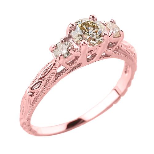 14k Rose Gold Art Deco 3 Stone Diamond Engagement Wedding Ring
