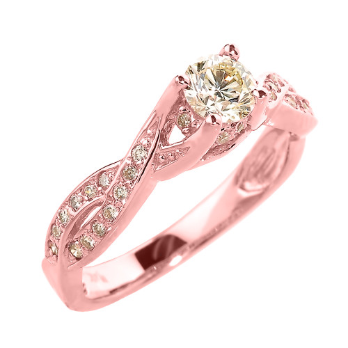 Elegant 14k Rose Gold Infinity Band Diamond Proposal Ring