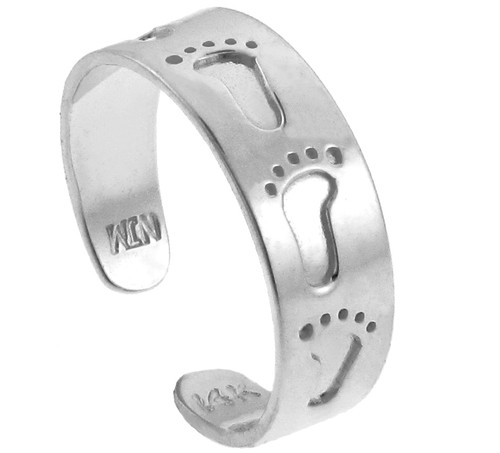 Bold Footprint White Gold Toe Ring