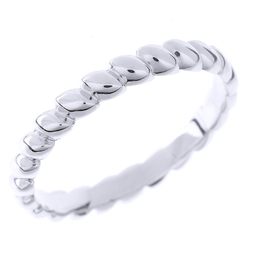 Sterling Silver Rice Beaded Stackable Ring