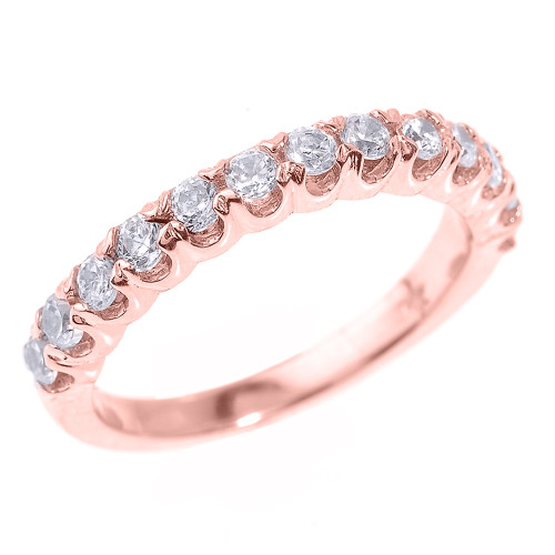 14k Rose Gold Stackable Diamond Wedding Band