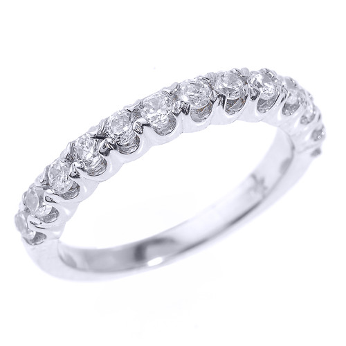 White Gold Stackable Cubic Zirconia Wedding Band