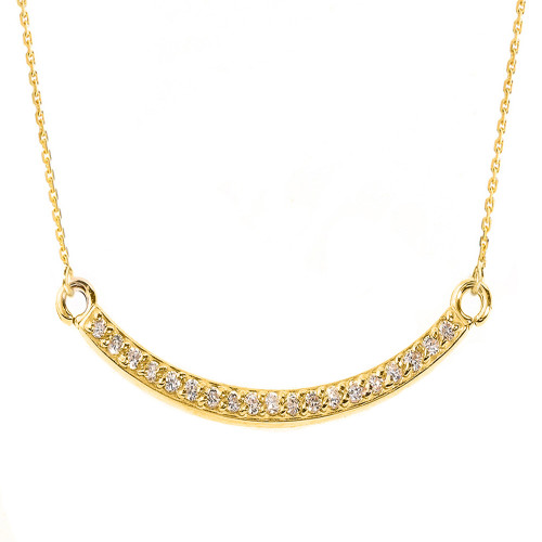 14k Yellow Gold Smiley Face Curved CZ Necklace