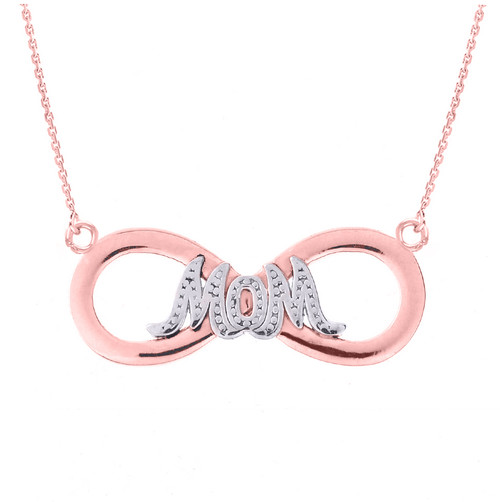 """Two-Tone 14k Rose Gold Infinity """"MOM"""" Pendant Necklace"""