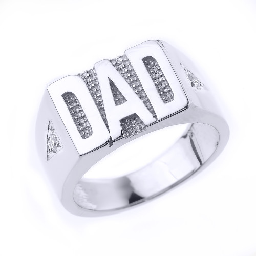 "Fine Sterling Silver Men's Diamond ""DAD"" Ring"