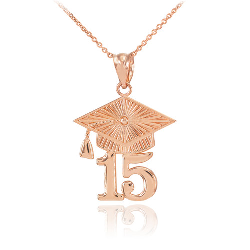 Rose Gold 2015 Class Graduation Pendant Necklace