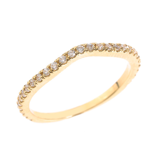 14k Yellow Gold Chevron Stackable Diamond Wedding Band