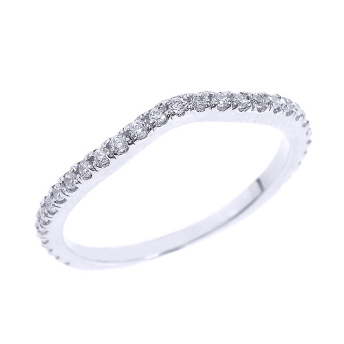14k White Gold Chevron Stackable Diamond Wedding Band