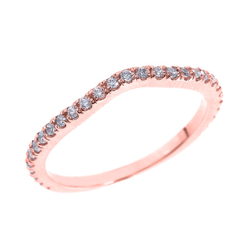 14k Rose Gold Chevron Stackable CZ Wedding Band