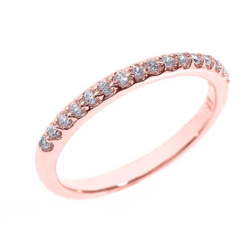 14k Rose Gold CZ Stackable Wedding Band