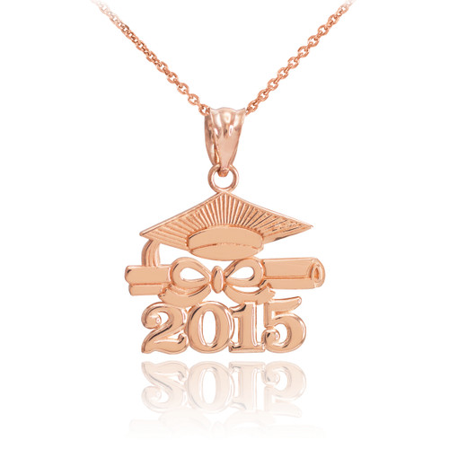"Rose Gold ""CLASS OF 2015"" Graduation Pendant Necklace"