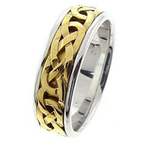 Bold Two Tone Celtic Wedding Ring
